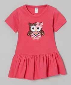 Look at this #zulilyfind! Fuchsia Polka Dot Owl Drop-Waist Dress - Infant #zulilyfinds
