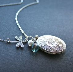 Dragonfly and Floral Locket Necklace, Dragonfly Necklace, Oval Locket Necklace, Sterling Silver by smilesophie on Etsy