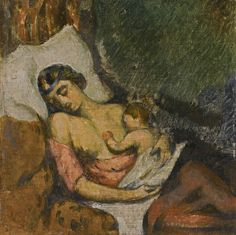 Paul Cézanne | Femme allaitant son enfant, c.1872  This wonderfully intimate portrait returns to the market amidst a flurry of re-appraisal for Cézanne's paintings of his companion Hortense Fiquet: this important series is currently the subject of a major exhibition at The Metropolitan Museum in New York titled Madame Cézanne. Of the twenty-nine known paintings of Fiquet, the present work and one other, whose whereabouts remains unknown, are the earliest