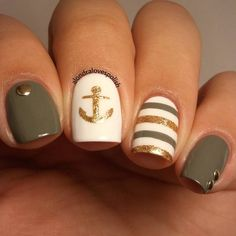 Gold and Taupe Nautical Nails With Anchor ⚓️