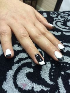 Retro black & white nail art with matt tips in shellac by Evie at Tranquility Spa Hornchurch, Essex x