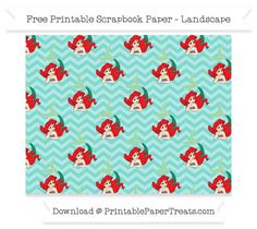 FreeTiffany Blue Chevron Large Ariel Pattern Paper - The Little Mermaid