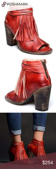 """NEW Bed Stu Olivia Heeled Sandal, Red Ferrari NEW IN ORIGINAL BOX **will consider reasonable offers**  *Leather *Imported *Leather sole *Shaft measures approximately 5"""" from arch *Heel measures approximately 4"""" *Leather lined *Handmade Bed Stu Shoes Ankle Boots & Booties"""