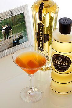 COCKTAIL: Cooper Brothers Cocktail  1½ oz bourbon  ½ oz St-Germain elderflower liqueur  ¼ oz Domaine de Canton ginger liqueur