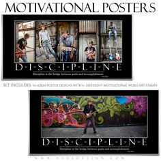 Ashe Design | Motivational Poster Photography Templates for Photoshop  Motivate athletes of all ages with unique posters that feature them at the top of their game. Challenge - Discipline -  Determination - Motivation - Persistence