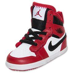 Girls' Toddler Jordan 1 Skinny High Top Basketball Shoes | FinishLine.com | Red/White/Black