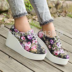 Encontrar Más Moda Mujer Sneakers Información acerca de Cuñas de lona otoño zapatos de plataforma zapatillas de deporte casuales bajo top cordón mujeres de los altos talones, alta calidad zapatos de la rodilla, China zapato de soporte Proveedores, barato pasteles de zapatos de Aliexpress Shoes Boxes en Aliexpress.com