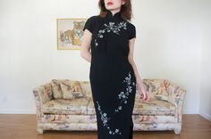 Vintage 1950 Mandarin Cheongsam Dress Black by OzmaAutonomy