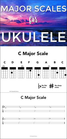 Major scales for ukulele: fingering charts, tablature, and music notation. Easy for transitioning students into reading music. My kids love this so far :)