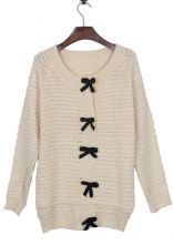Apricot Bowknot Front Chunky Textured Knit Sweater $33.28