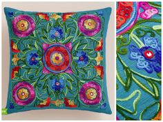 New Spring Collection featuring Cost Plus World Market's Multicolor and Pink Floral Embroidered Throw Pillow  #WorldMarket Home Decor Ideas