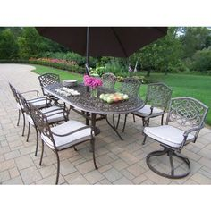 (CLICK IMAGE TWICE FOR PRICING AND INFO) #patioumbrellas #patio #umbrellas #patiofurniture SEE MORE patio umbrellas at ZPATIOFURNITURE.COM - Oakland Living Mississippi Cast Aluminum 82 x 42 Inch Oval 9pc Dining Set with Swivels and Cushions plus Tilting Umbrella and Stand « zPatioFurniture.com