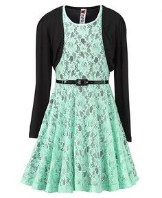 Emmy's Winter Dance Beautees Kids Dress, Girls Lace Shrug Dress - Kids Dresses - Macy's