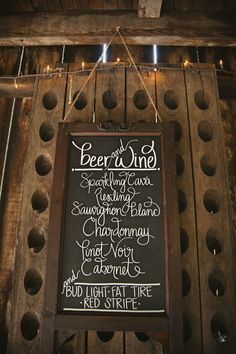 Chalk board wedding menu. A super easy DIY for the cocktail hour, apps, dinner, dessert table or bar. Could put a little one on each table for guests to preview, I would use barn wood as my frame!