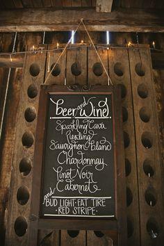 Chalk board wedding menu. Awesome!