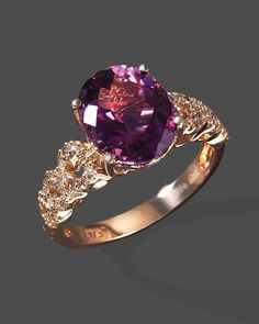 Diamond And Amethyst Ring In 14K Rose Gold
