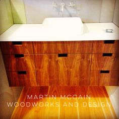 Floating grain matched walnut vanity. Modern Furniture, New Homes, Vanity, Mary, Woodworking, Storage, House, Design, Home Decor