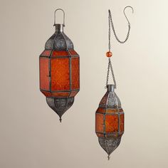 Orange Sabita Embossed Glass Hanging Lanterns | World Market