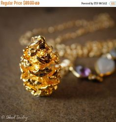 40 OFF SALE Gold Pinecone Necklace - Autumn Inspired - Layering Necklace, Moonstone, Topaz