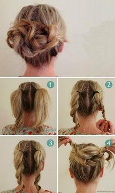 How to make a gorgeous messy bun! Start with twisted pigtails. #hair