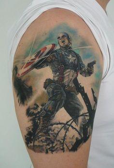 Captain America tattoo - Lasse Sjöroos