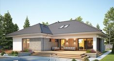 DOM.PL™ - Projekt domu FA Nela VI CE - DOM GC7-26 - gotowy koszt budowy House Blueprints, House Plans, House Styles, Outdoor Decor, Houses, Home Decor, Model, Bedroom Layouts, Home Plans