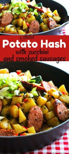 Sausage Squash Recipe, Sausage And Potatoes Skillet, Sausage And Peppers, Sausage Recipes, Stuffed Peppers, Skillet Recipes, Potato Recipes, Potato Dinner, House