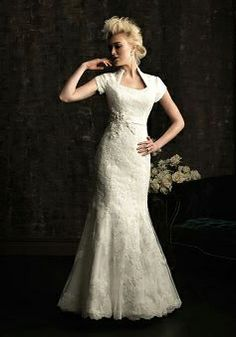 Short Sleeve Lace Mermaid Queen Anne Chapel Train With Sash/ Ribbon Bridal Gowns - 1300103643B - US$269.99 - BellasDress