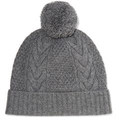 N.Peal Cashmere - Pompom-embellished Cable-knit Cashmere Beanie ($54) ❤ liked on Polyvore featuring accessories, hats, anthracite, cashmere pom pom hat, pom pom beanie, cable knit pom pom hat, cashmere hats and pompom hat