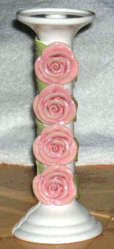 Brenda Holzke Candlestick Holder Pillar Capodimonte Rose Blossoms Stoneware