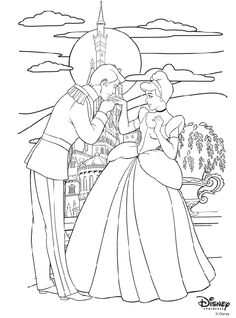 Disney Princess Cinderella and Prince Charming coloring page