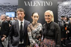Creative Directors Maria Grazia Chiuri and Pierpaolo Piccioli with model Saila at the Dover Street Market in Ginza for a special Camucouture installation.
