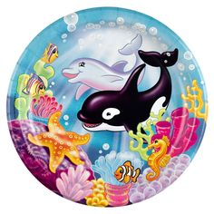Gender-neutral Birthday Parties - there are oodles of party themes that either include boys and girls or favor neither. Come see the selection! Whale Birthday, Birthday Plate, 1st Birthday Parties, 3rd Birthday, Birthday Ideas, Party Plates, Dinner Plates, Dolphin Party, Rainbow Images