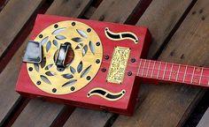 Red Dog Cigar Box Resonator Guitar - 3 string vintage Slide Dobro Bottleneck