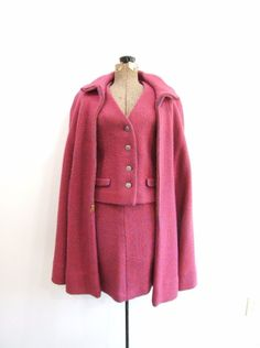Vintage Wool Suit with Cape in Pink  XS/S by RedsThreadsVintage, $145.00