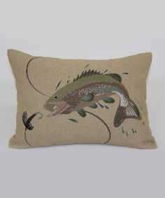 Look at this Taupe Jumping Bass Throw Pillow on #zulily today!
