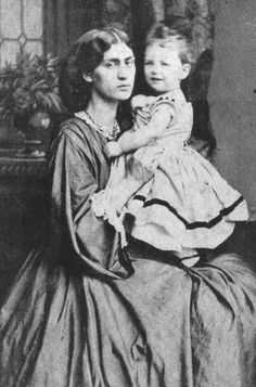 Jane Morris pre raphaelite Muse: Jane Morris with her daughter May, 1865