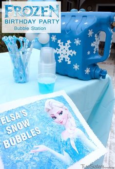 """Disney Frozen Bubble Station - a fun activity for a Frozen Birthday Party. The kids will love playing with these """"Elsa Snow Bubbles"""" and the DIY Bubble Dispenser and Homemade Bubble Solution is so easy to make. For more great Frozen Party Ideas follow us at http://www.pinterest.com/2SistersCraft/"""