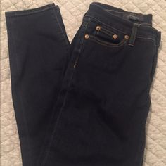 """J.Crew Ever Stretch Toothpick Jean in Resin Rinse Super stretchy toothpick denim. Worn a few times, but in excellent condition. Absolutely NO pilling in inner thigh! Sits at hip, ankle length pant (28"""" inseam). J. Crew Jeans Skinny"""