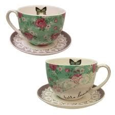 cups and saucers with butterflies -