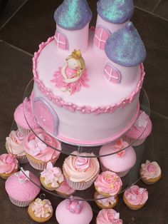 Loving this idea. Cake AND cupcakes. And the glittery roofs ...A little blonde princess Nikki, and then Little pink ponies on the cupcakes!!!!