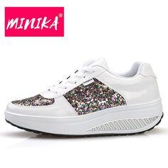 MINIKA Women Comfortable Platform Sneakers - TunLov Platform Sneakers, High Top Sneakers, Magical Quotes, Front Row, Fashion Dresses, Lace Up, Slip On, Louis Vuitton, Bling
