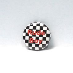 1-034-Pinback-Button-Rude-Boy-Ska-Black-amp-White-Checkered-Pin-Awesome