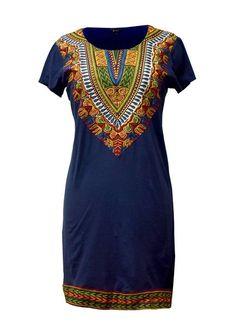 African Dashiki Dress - Fitted Dashiki T-Shirt Dress Navy – D'IYANU
