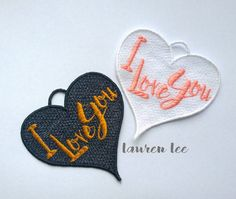 I love you FSL (free standing lace) Heart Embroidery Design File to Suit 4x4 Hoops +