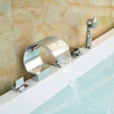 Bathroom Bathtub Faucets With Handshower 3 Brass Handles Chrome Finish $150.33 - Https://Goo.Gl/Bcby6B  House Supply Materials Interesting Hardware Designer Fixture Supplies Home Decor Icon2 Sale Mildlyinteresting Luxury Remodel  Type: Bath & Shower Faucets,Bathtub Faucet  Cold/Hot Water Control Type: Dual Holder Dual Control  Size: <130Mm  Style: Contemporary  Number Of Handles: Triple Handle  Surface Treatment: Polished  Type: Fixed Support Type  Valve Core Material: Ceramic  Surface…
