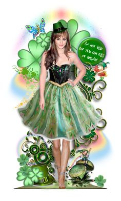 """St. Patrick's Day: I'm Not Irish BUT kiss me anyways!"" by rosie305 ❤ liked on Polyvore featuring art and dollset"