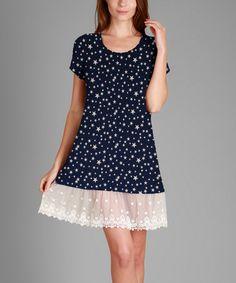 Look what I found on #zulily! Navy & White Star Lace-Trim Swing Dress #zulilyfinds