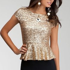 Host Pick Bebe gold sequin peplum top Worn once. Freshly dry cleaned and ready to wear  bebe Tops Blouses