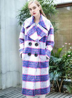 Tartan Print Color Block Charming Coat